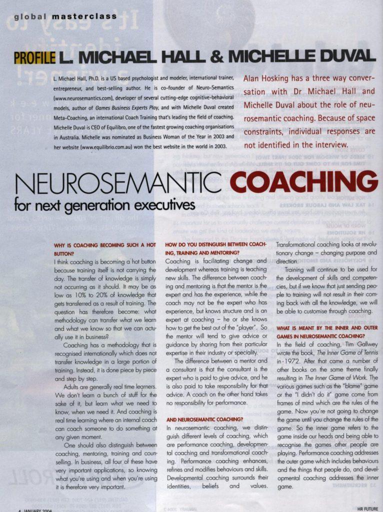 Neuro-Semantic Coaching article HRfuture